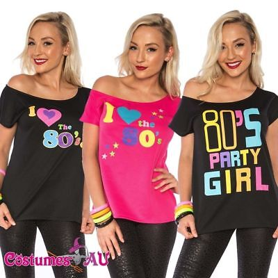 I Love the 80's 80s T-shirt Costume Ladies 1980s Fancy Dress Girls Top TShirt