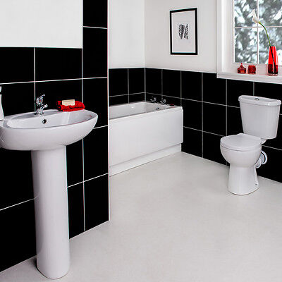 NEW Modern Full Bathroom Suite with Bath, Taps, Toilet and Wash Basin