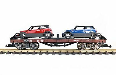 Zenner Car carrying truck Mini Cooper,G Scale,Bachmann Flat wagon;