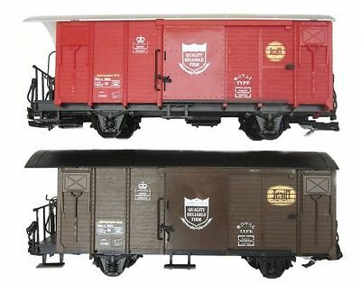 Train 2 covered wagons brown and red, G Scale