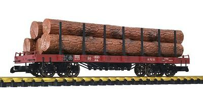 Liliput-Bachmann Flat wagon, brown, with Stakes and Wood trunks as load