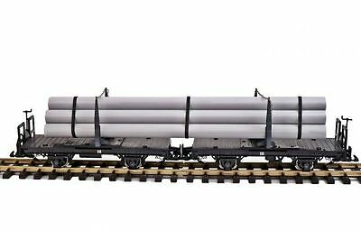 Zenner Swivelling bolster wagons pair with Pipes, G Scale Garden railway