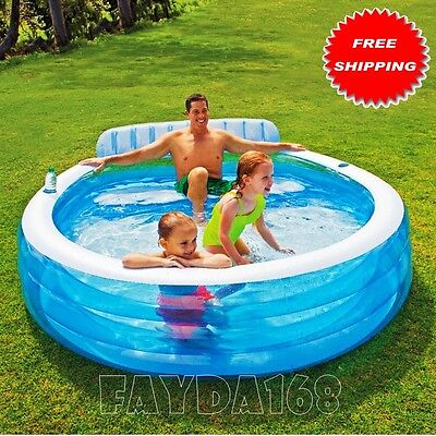 Large Inflatable Swimming Pool Center Lounge Family Kids Water Play Fun Backyard Cad