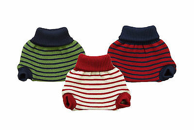 POPOLINI Diaper Cover 100% MERINO WOOL baby soaker cloth knitted striped organic