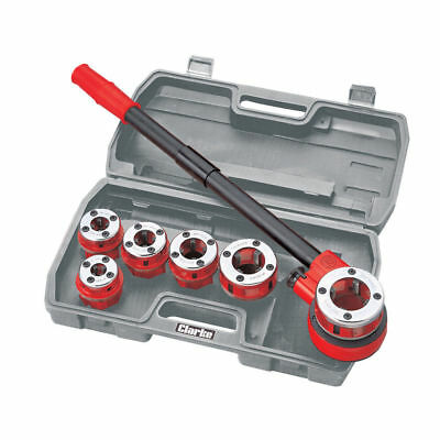 CLARKE CHT392 Plumbers Pipe Threading Kit 6 BSPT Die Heads + Reversible Ratchet