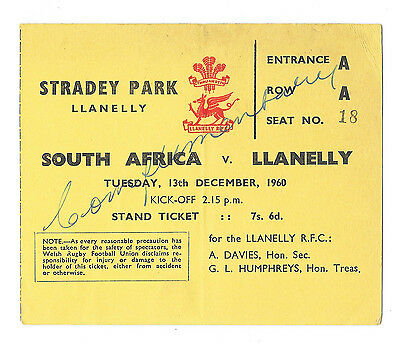 1960 - Llanelli v South Africa, Touring Match Ticket.