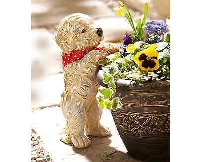 Peeping Puppy Garden Ornament Decoration Plant Pot Decor Outdoor Weatherproof