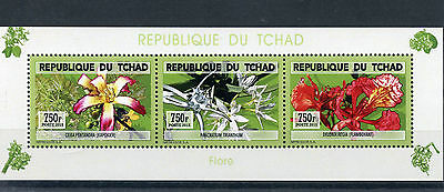 Chad Tchad 2015 MNH Orchids 3v M/S Flowers Flora Flore
