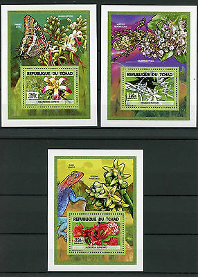 Chad Tchad 2015 MNH Orchids 3x Deluxe S/S Flowers Flora Flore Insects Beetles