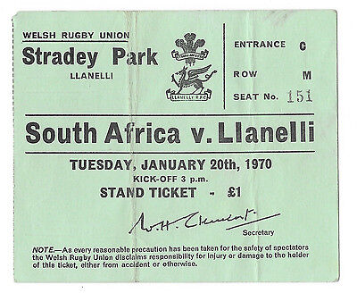 1970 - Llanelli v South Africa, Touring Match Ticket.