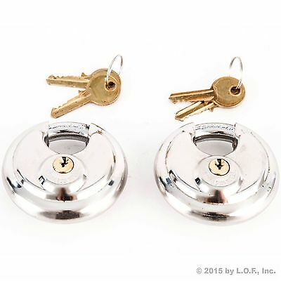 2 Stainless Steel Armor Disc Padlocks Trailer / Self Storage Locks Keyed Alike