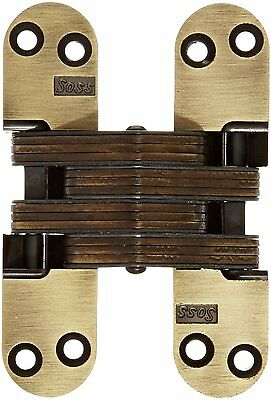 SOSS 218 Zinc Invisible Hinge w/ Holes for Wood or Metal Applications Antique Br