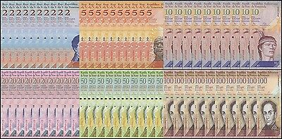 Venezuela 2 - 100 Bolivares 6 Pieces(PCS)X 10 Full Set, 2007-2016, P-88-93, UNC