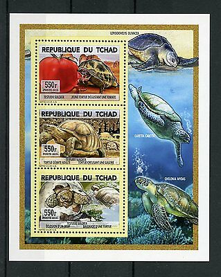 Chad Tchad 2015 MNH Turtles 3v Deluxe M/S Reptiles Tortues Tortoise