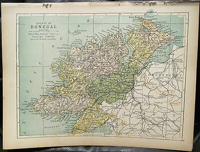 Irish Map County DONEGAL Slieve League Letterkenny Ireland PW Joyce 1905 7x9.5