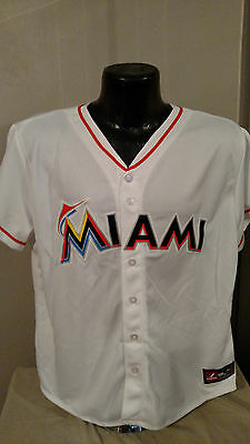 best loved a6589 9dba5 MLB MIAMI MARLINS Home White Baseball Jersey Shirt Womens Size Majestic Nwt