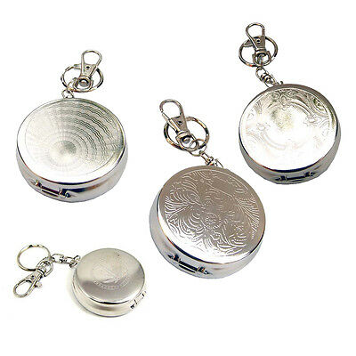 Portable Pocket Stainless Steel Round Cigarette Ashtray With Keychain New Hot