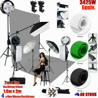 3x Backdrop + Stand + 1350W Photography Softbox Photo Video Studio Lighting Kit+