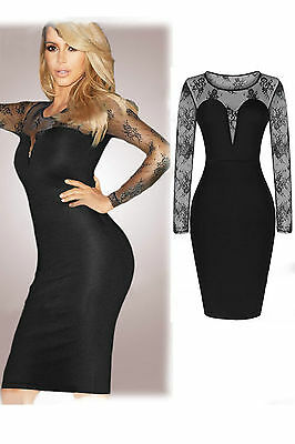 Abito cono aperto nudo trasparente aderente Mesh Midi Party Bodycon Dress S