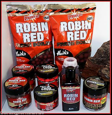 Dynamite Baits Robin Red Boilies Fluro Pop Up Dip Liquid 10 15 20mm Stick Mix