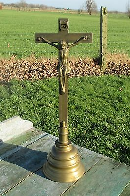 Antique Large Art Deco Standing Table Crucifix Christ Brass Cross  20.08""