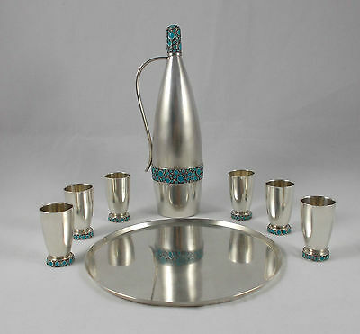 *RAR* Elegantes russisches Vodka- / Schnaps-set 916 Sterlingsilber mit Emaille