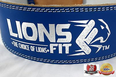 "Lions Fit 4""wide Blue Color Real Leather Weight Lifting, Bodybuilding Gym Belt"