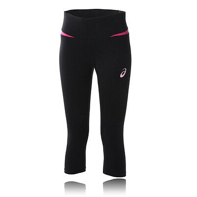 Asics Essentials Femmes Rose Noir Motion Dry Capri Leggings Collants Corsaire