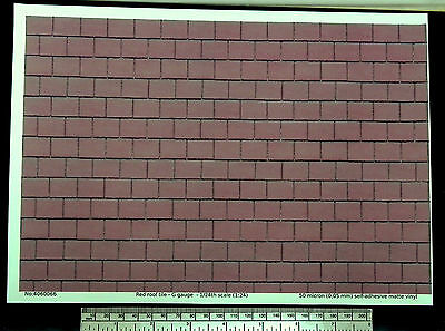 Red roof tile self adhesive vinyl G gauge (1:24) - A4 sheet -210 x 297mm