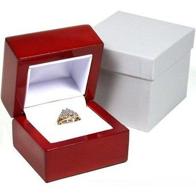 Rosewood Stained Ring Gift Box Jewelry Display, New, Free Shipping