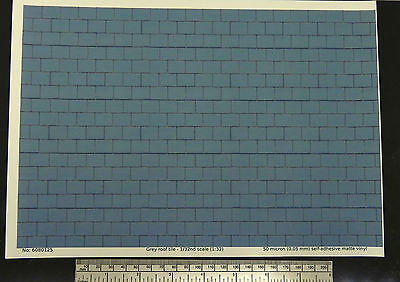 Grey roof tile self adhesive vinyl 1/32nd scale (1:32) - A4 sheet -210 x 297mm