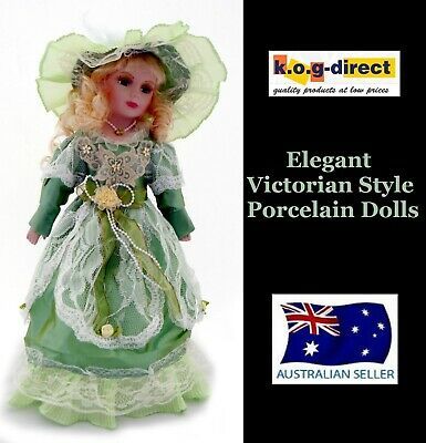 Victorian Style Fine Porcelain Doll Charlette Green Clothing 40Cm Tall New B29