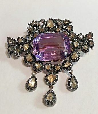 Rare Antique 16 Carat Amethyst 14K Gold/Silver Pin With 33 Rose Cut Diamonds