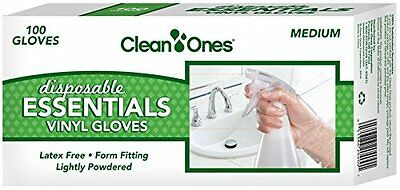 Clean Ones Disposable Essentials Latex-free Vinyl Gloves 100ct, New, Free Shippi
