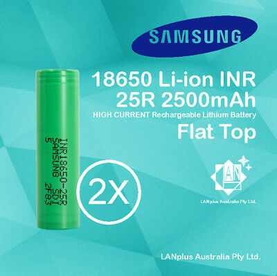 2x Samsung 18650 2500mAh 25R Lithium Rechargeable Battery INR18650-25R Flat Top
