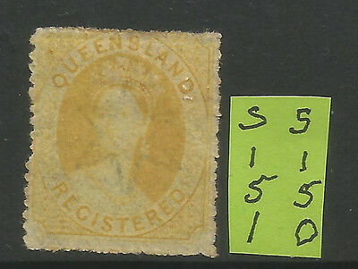 QLD. Registered 6d yellow  Mint with Gum L%$K S150