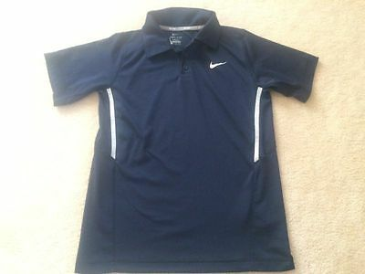 GIRLS Size XL NIKE TENNIS POLO shirt Navy Blue Dri-Fit Short Sleeve polyester