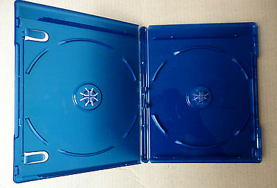 9 ESTUCHES / CAJAS DOBLES para BLURAY - 2 DISCOS - 11mm - AZUL TRANSPARENTE