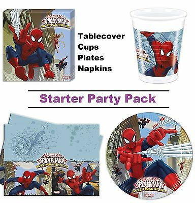 Spider-Man Web Warriors 8-48 Guest Starter Party Pack | Cups | Plates | Napkins