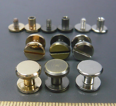 Flat Head Button Studs Screwback DIY Leather Craft Belt Chicago Screw nail rivet