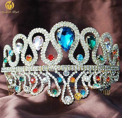 Impressive Tiara w/ Hair Combs Multi-color Crystals Wedding Bridal Pageant Prom
