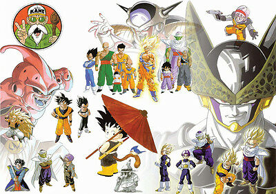 Stickers Autocollant Poster A4 Manga Dragon Ball Z Mix Persos Goku Cell Freezer.