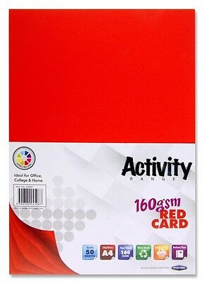 Premier A4 160gsm Activity Card Pk50 RED (Double Sided)