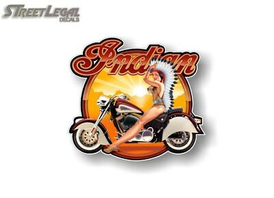 "Rare Indian Motorcycle 5"" Pinup Girl Graphic Decal 1950's Vintage Look Sticker"