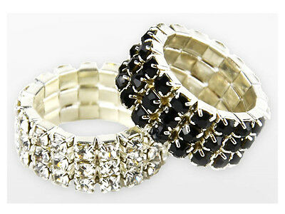 Lincoln Diamante Plaiting Bands - Black, Pack of 20. SALE.