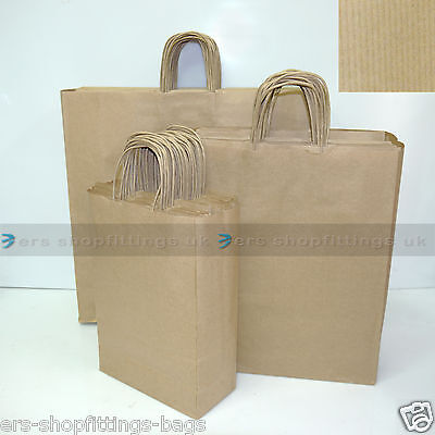 Paper Carrier Bags Twisted Handle High Quality Gift Boutique Bag Brown