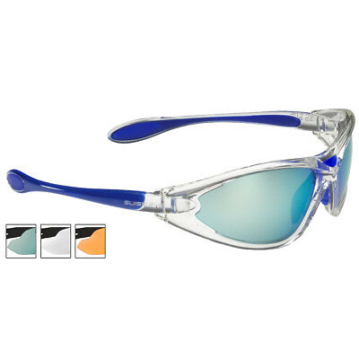 Swiss Eye Constance Sunglasses Three Spare Antiscratch Lenses Crystal Blue Frame