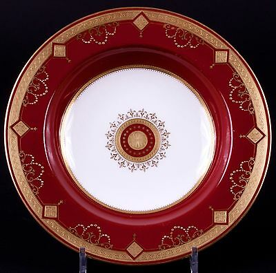 12 Antique Minton Medallion Garnet Red Soup Bowls: gold encrusted, gilded, gilt