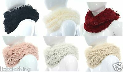 Super soft fluffy faux fur snood single loop scarf in various colours  *LICK*