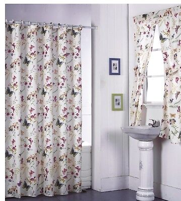 Butterfly Design Shower Curtain Drapes and Window Set w/ Liner+Rings  NEW
